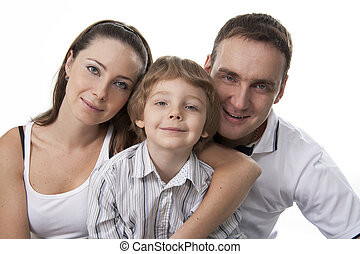 Family lifestyle portrait - Young European family from three...