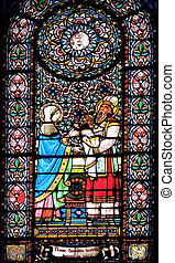 stained glass window with religious motive from spain