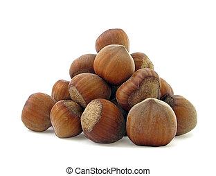 hazel - heap of hazel nuts isolated on white...
