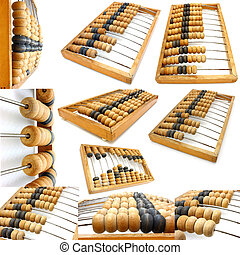 Set of accounting abacus for financial calculations