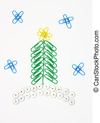 Paper clip Christmas tree - Christmas fur-tree from paper...