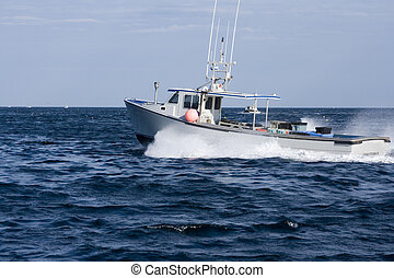 Lobster Boat - Lobster fishing boat on the atlantic ocean