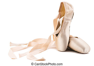 ballet shoes - brand new ballet shoes on a white background