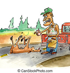 roadkill - A man with a sack stopping to pick up a road kill...