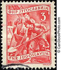 kvinna, skovel, stämpel,  1953:, Arbetare,  -, konstruktion, Jugoslavien, Tryck,  1953, skottkärra, cirka, visar,  man