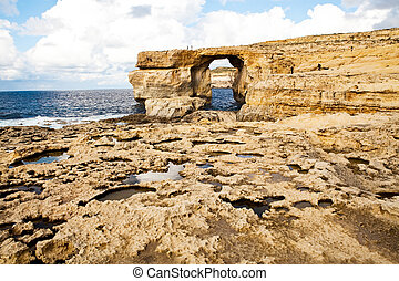 kasownik, Skała, łuk, błękit, okno, Gozo