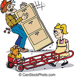 dolly smart - A man trying to move a heavy cabinet as a...