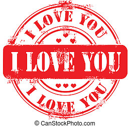 Stamp happy valentine's day and i love you. Vector...