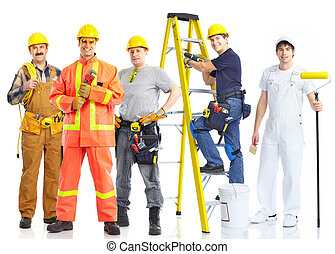 contractors workers people Isolated over white background