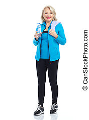 Gym & Fitness. Smiling elderly woman. Isolated over white...