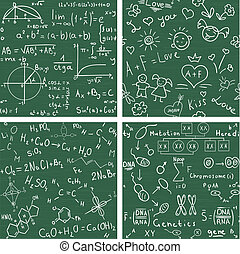 Education. Seamless vector backgrounds - Education - set...