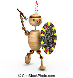wood man indian with spear 3d rendered