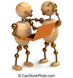 wood man with orange laptop - two wooden mans with orange...