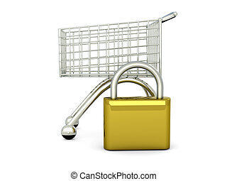 Secure Shopping	 - 3D rendered Illustration.