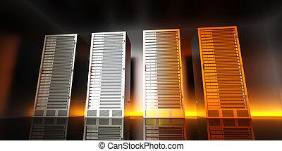 Server Room - 3D rendered Illustration.