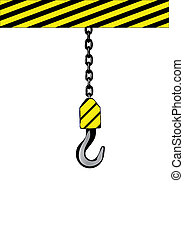 Vector illustration an iron hook on a chain.