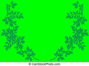 Vector illustration a pattern from green sprouts with leaves