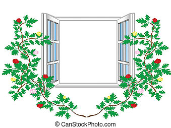 Vector illustration an open window with flower patterns.