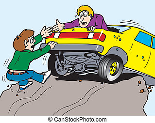 car over cliff - A man helping another man out of his car...