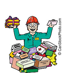 incentives - A man with a hard hat on standing in a pile of...