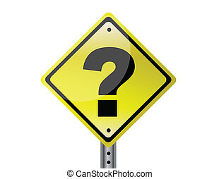 Question mark sign isolated over white