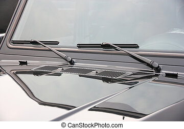 The close up of car windshield wiper