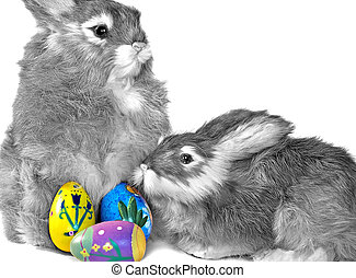 Colored Eggs - Colored Easter egg with bunnies.