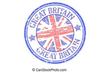 Great britain stamp - Great britain grunge stamp with union...