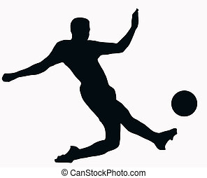 Sport Silhouette - Socer player kicking ball - Sport...
