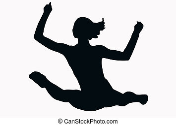 Sport Silhouette - Female Gymnast performing splits