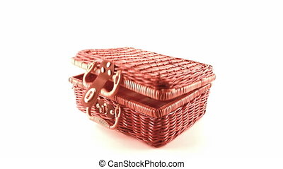 wicker picnic basket isolated on white