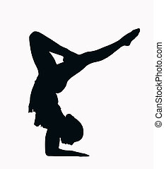 deporte, silueta, -, hembra, gimnasta, brazo, estante