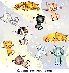 vector seamless image on a cat theme