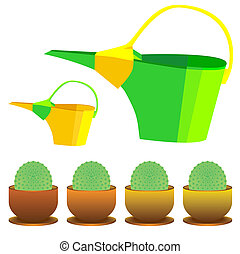 watering can and cactus in a pot