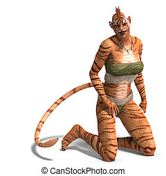 Female Fantasy Figure Tiger. 3D rendering with clipping path and shadow over white