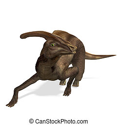 Dinosaur Parasaurolophus. 3D rendering with clipping path and shadow over white
