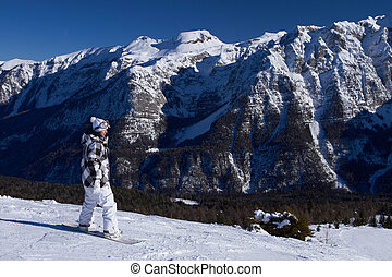 Female Snowboarder in Dolomites