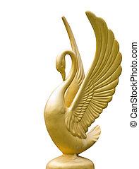 dourado, Cisne, estátua