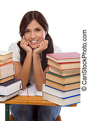 Freindly Hispanic College student with books