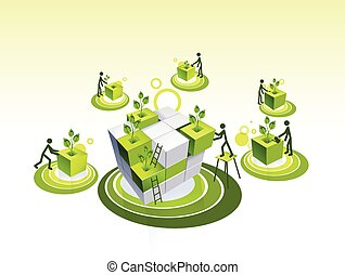 Concept illustration of a green living community - Building...