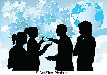 Business people - A vector illustration of a group of...