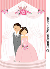 Wedding celebration - A vector illustration of a bride and a...