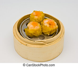 Assorted Dim Sum - Chinese streamed spawn dimsum in bamboo...