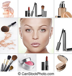 cosmetic - Beauty theme collage composed of different images
