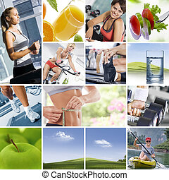 collage - Healthy lifestyle theme collage composed of...