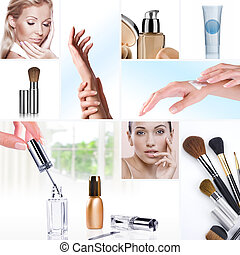 mix - Cosmetic theme collage composed of different images