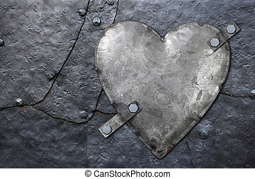 galvanized metal heart - Photo of a galvanized metal heart...