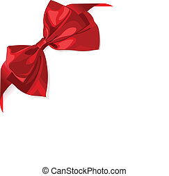 Red ribbon - Page corner with red ribbon and bow. Place for...