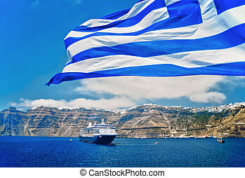 Greek Flag and Cruise Liner in front of the coast of...