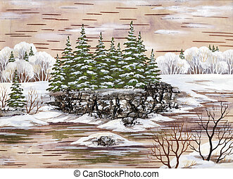 Winter landscape - Winter natural landscape Handmade,...